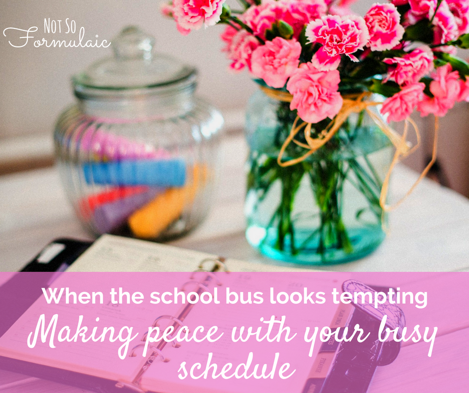 Homeschool Moms Are Busy School Busy Envy Or Thinking About How Much More You Could Get Done If Only The Kids Were On That Bus Can Sneak Up On You Here 039 S How To Make Peace With Your Busy Schedule From One Homeschooling Mom To Another - When The School Bus Looks Tempting: Making Peace With Your Busy Schedule - Gifted/2e Education