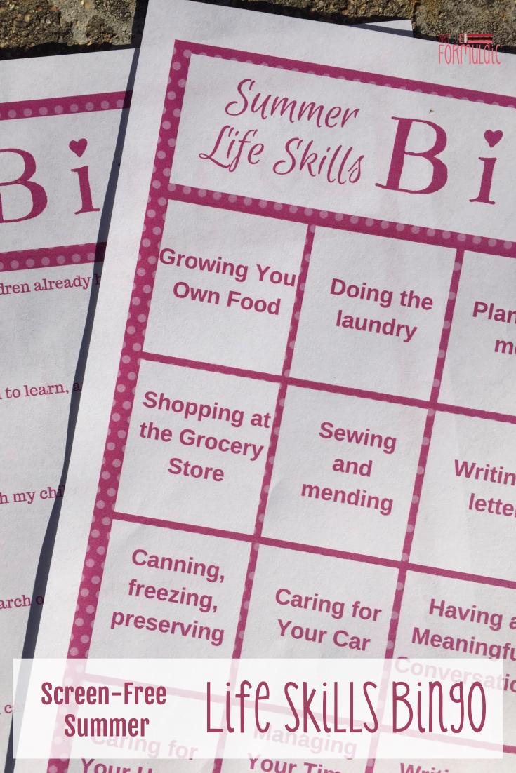 Lifeskillsbingopin - Have A Screen-free Summer With Life Skills Bingo - Gifted/2e Parenting