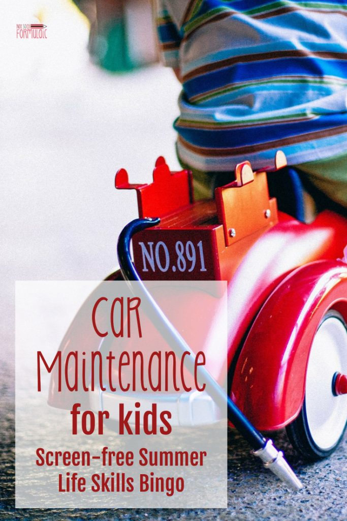 Car Maintenance For Kids Screen Free Summer Life Skills Bingo - Gifted/2e Parenting