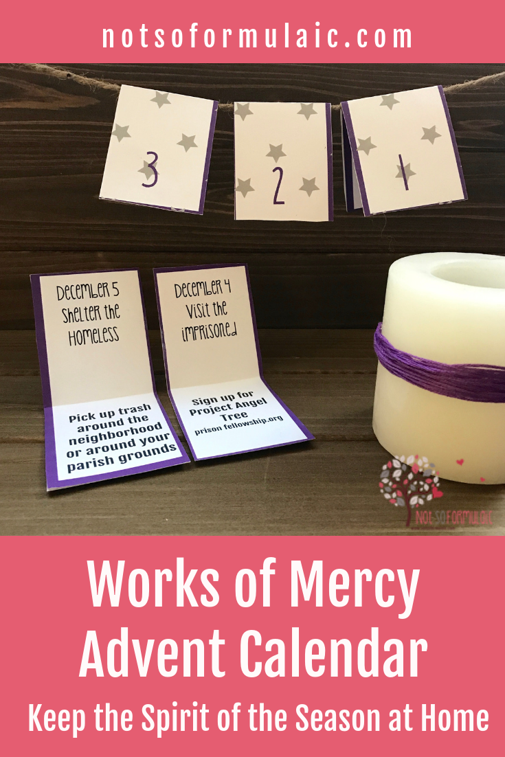 Printable Works Of Mercy Advent Calendar Pin - Works Of Mercy Printable Advent Calendar - Gifted/2e Faith Formation