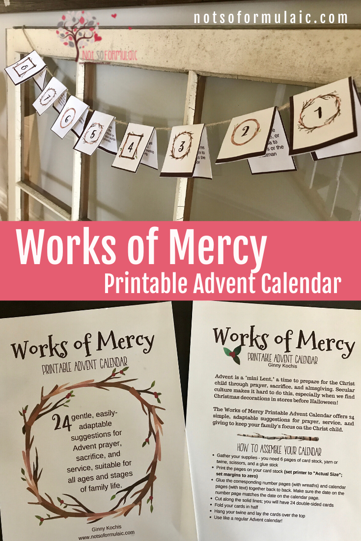 Works Of Mercy Printable Advent Calendar Pin - Gifted/2e Faith Formation