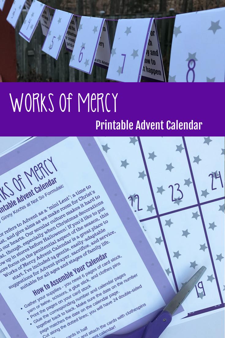 Works Of Mercy Printable Advent Calendar Pin - Gifted/2e Faith Formation