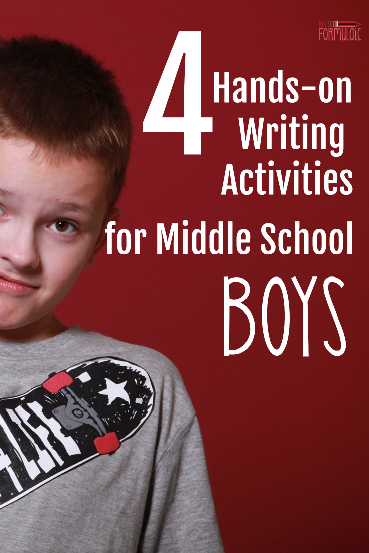 Middle school boys can struggle with writing. Check out these four hands-on writing activities for middle school boys.